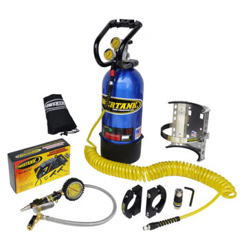 Picture of CO2 Tank 10 LB Package C System 400 PSI W/Power Flow II and Roll Bar Clamps Candy Blue Power Tank