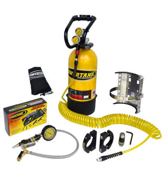 Picture of CO2 Tank 10 LB Package C System 250 PSI W/Power Flow II and Roll Bar Clamps Team Yellow Power Tank