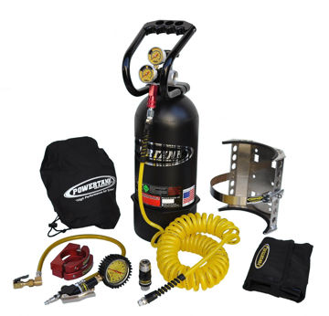 Picture of CO2 Tank 10 LB Package C System 250 PSI W/Power Flow II and Roll Bar Clamps Matte Black Power Tank