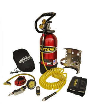 Picture of CO2 Tank 10 LB Package C System 250 PSI W/Power Flow II and Roll Bar Clamps Candy Red Power Tank